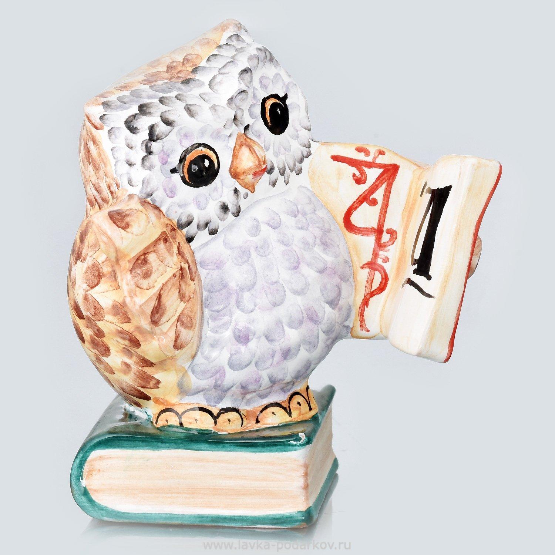 """Скульптура """"Сова с книгой"""" Гжель, арт. 800321338 — 980 руб ..."""